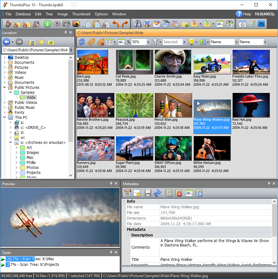 ThumbsPlus is a highly customizable image database / thumbnails / graphics editor application that makes it easy to catalog, locate, maintain and modify all your digital images, graphics, font, metafile, and multimedia files.