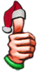 Thumb icon with santa hat